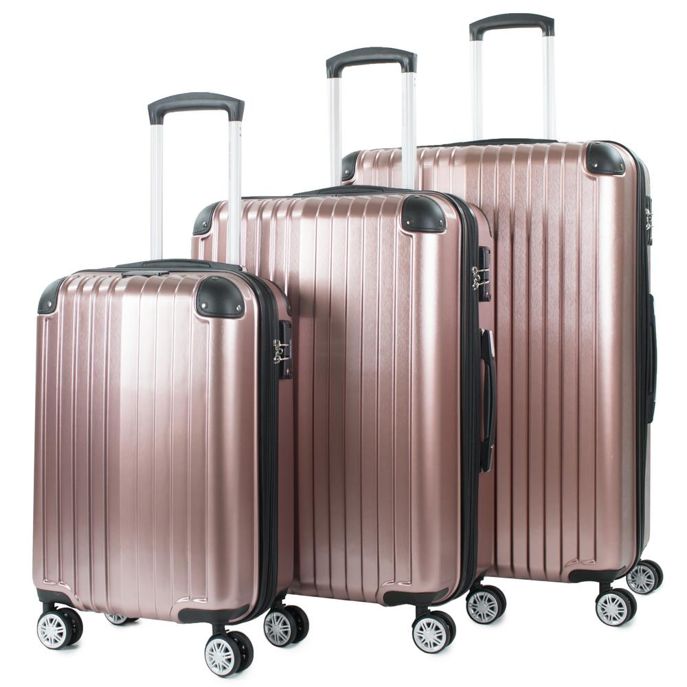 Melrose Rose Gold 3-Piece Polycarbonate Expandable Spinner Luggage with TSA Lock