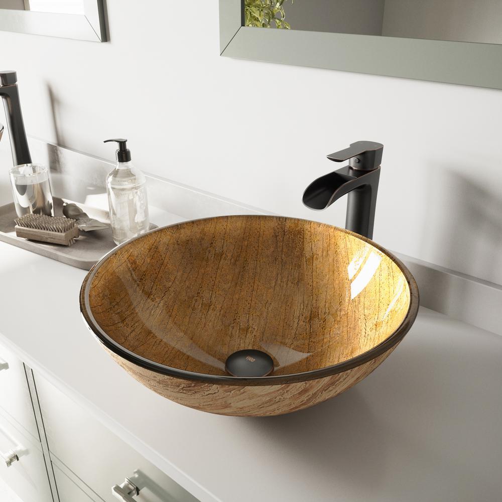 Vigo Glass Vessel Bathroom Sink In Amber Sunset And Niko