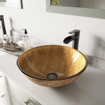 Glass Vessel Bathroom Sink in Amber Sunset and Niko Faucet Set in Antique Rubbed Bronze