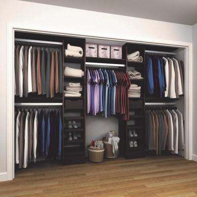 15 in. D x 165 in. W x 84 in. H Melamine Reach-In Closet System Kit in Mocha