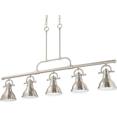 5-Light Integrated LED Indoor Brushed Nickel Linear Kitchen Island Hanging Pendant with Bell-Shaped Bowls
