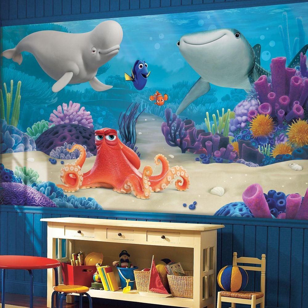 72 in x 126 in Finding Dory XL Chair Rail 7 Panel Prepasted Mural