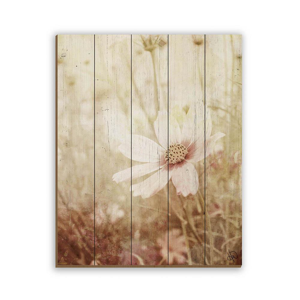 16 In X 20 In Field Flower Planked Wood Wall Art Print