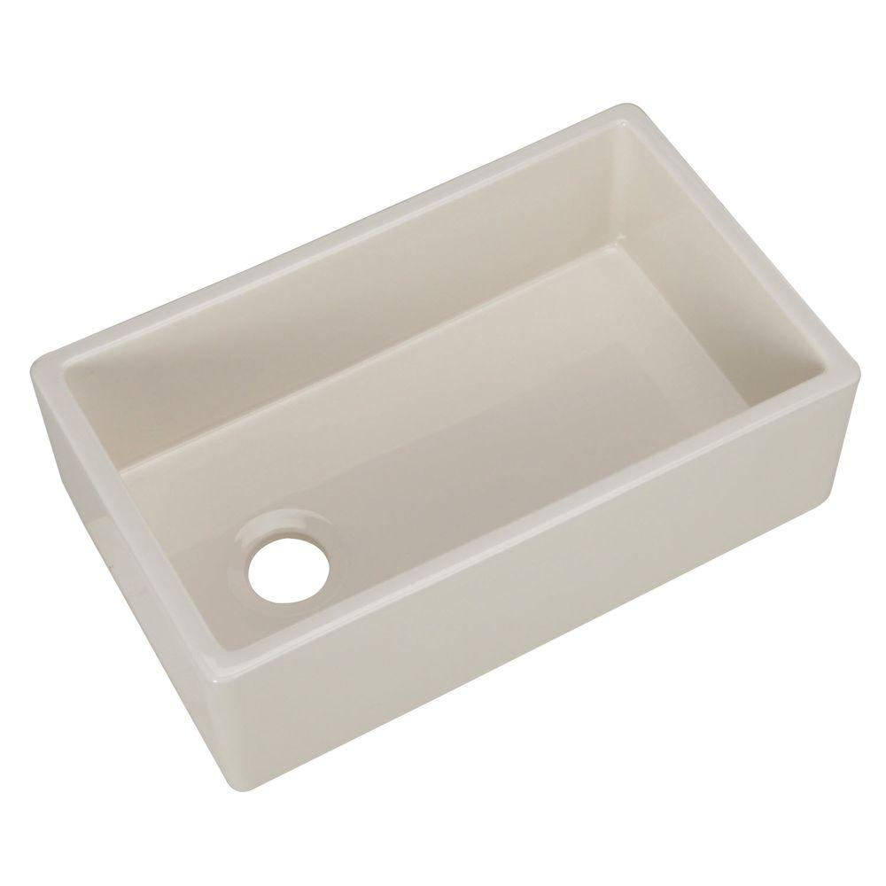 Pegasus Farmhouse Apron Front Fireclay 30 in. Single Basin Kitchen Sink in Bisque