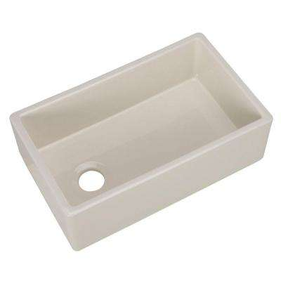 Farmhouse Apron Front Fireclay 30 in. Single Bowl Kitchen Sink in Bisque