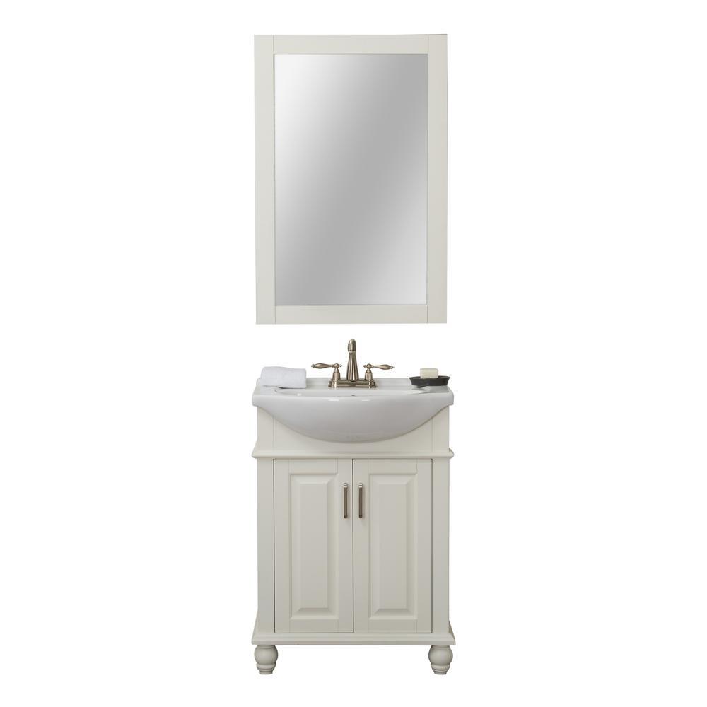 Lakewood 24 in. W x 17.5 in. D x 34.75 in. H Vanity in White with Porcelain Vanity Top in White with White Basin