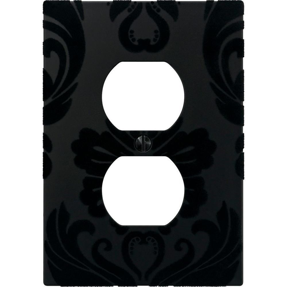 Amerelle Velvet 1 Blank Wall Plate - Black