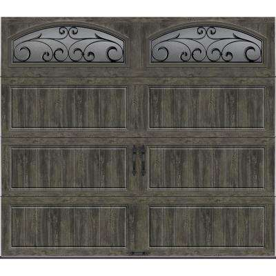Gallery Collection 8 ft. x 7 ft. 18.4 R-Value Intellicore Insulated Ultra-Grain Slate Garage Door with Decorative Window
