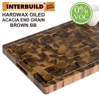 2 ft. L x 1 ft. 4 in. W x 1.5 in. T Wooden Cutting Board in Oiled Acacia With Brown Food-Safe Wood Oil Finish
