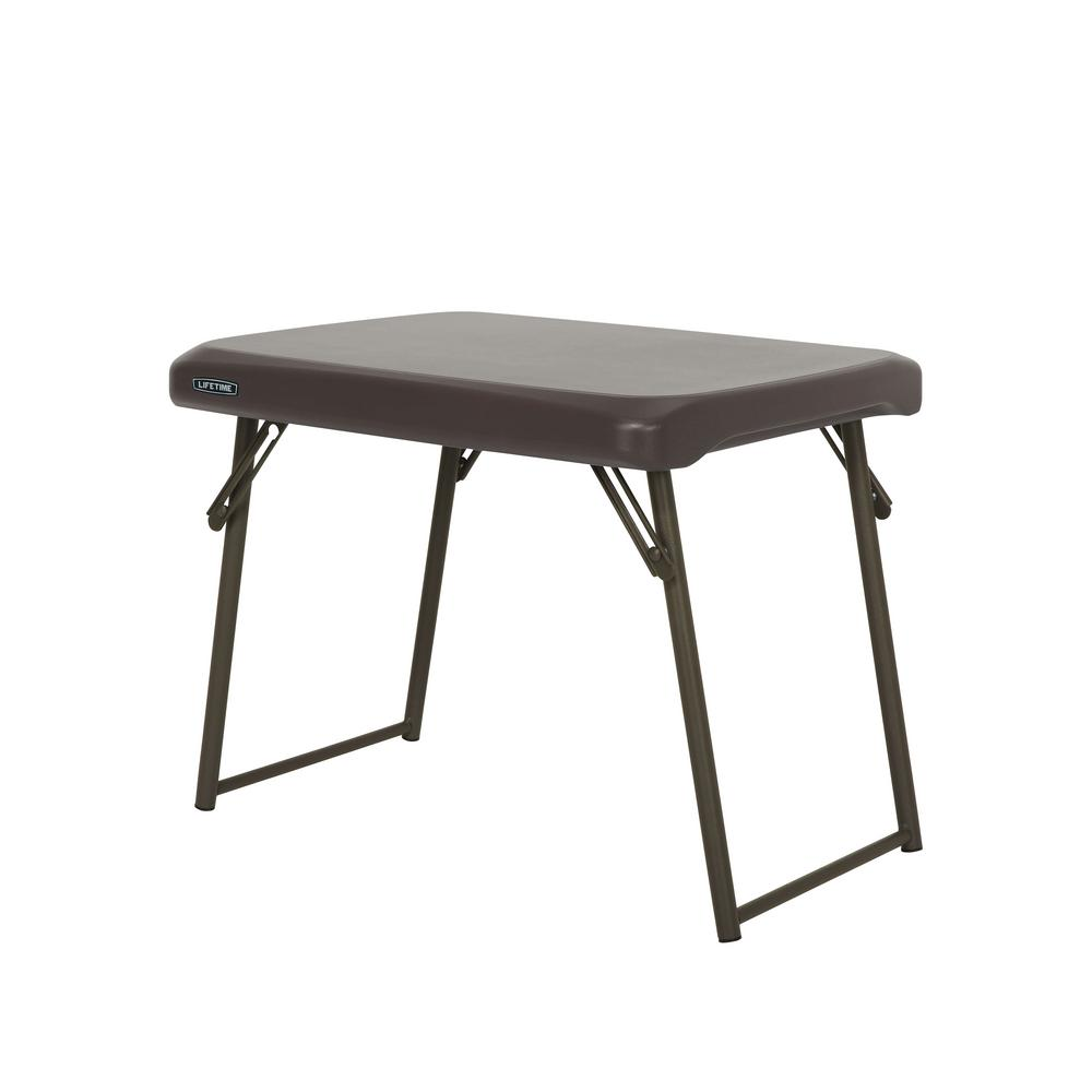 d53f138cf8c Lifetime 24 in. Brown Plastic Folding Side Table-280488 - The Home Depot