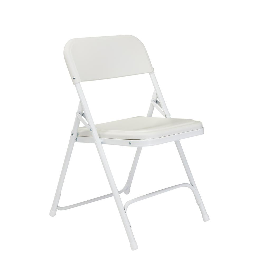 National Public Seating White Plastic Seat Metal Frame Outdoor Safe Folding Chair (Set of 4)