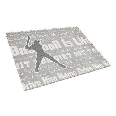 Baseball is Life Tempered Glass Large Cutting Board
