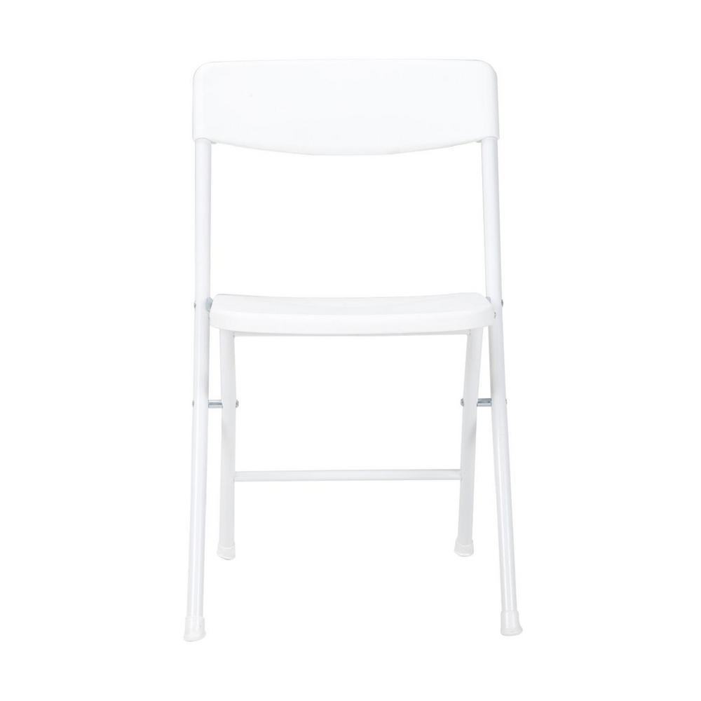 Cosco White Plastic Seat Metal Frame Outdoor Safe Folding Chair (Set of 4)