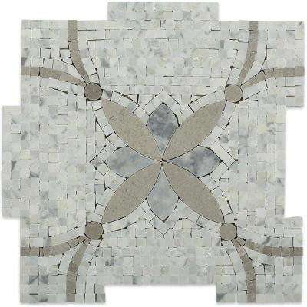 Garden Butterfly 12 in. x 12 in. x 10 mm Marble Mosaic Tile