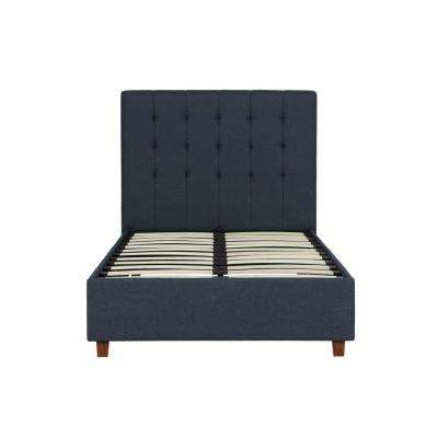 Eva Blue Linen Twin Upholstered Bed