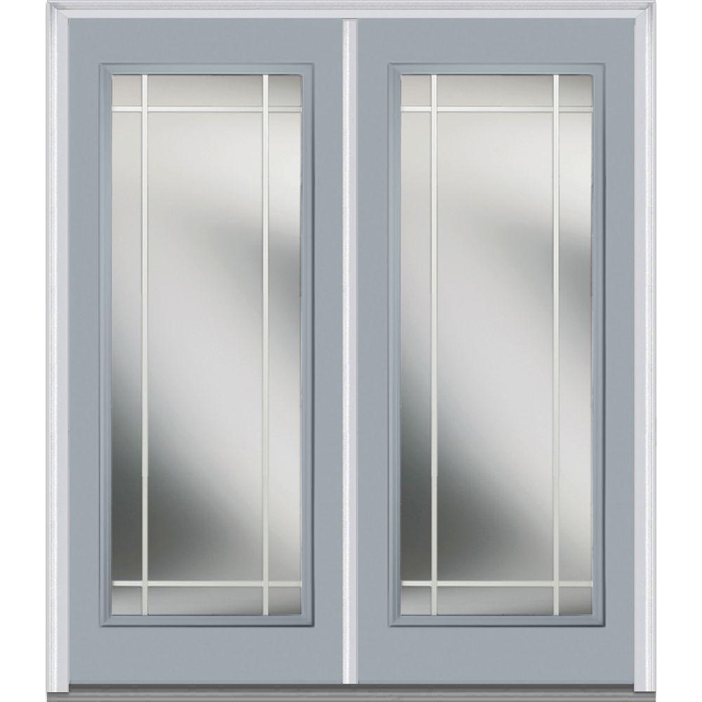 Mmi door 64 in x 80 in prairie internal muntins left for Prehung exterior doors with storm door