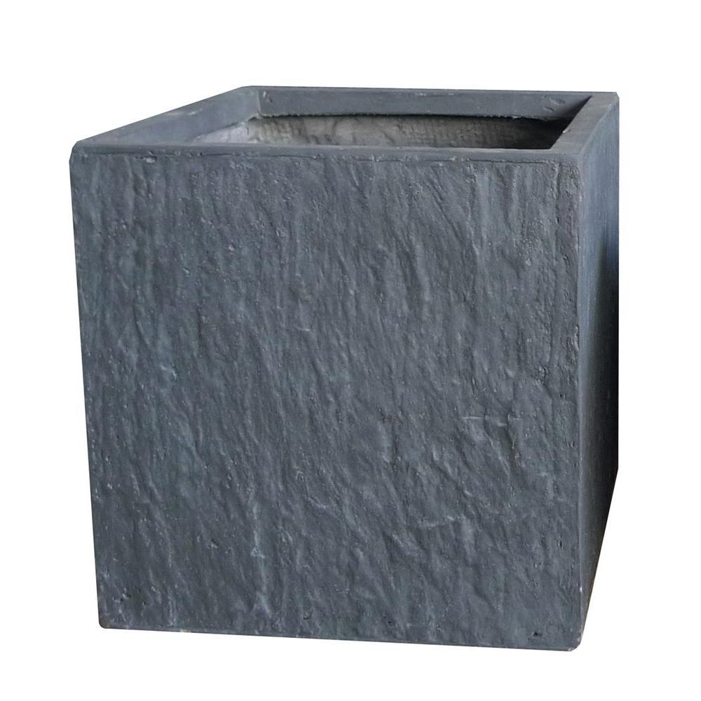 12 in. Slate Grey Cube Fiber-Clay Planter