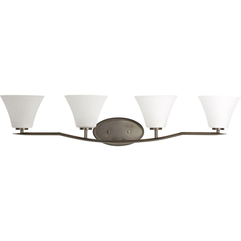 Bravo Collection 4-Light Antique Bronze Vanity Light with White Etched Glass
