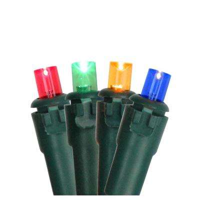 Set of 100 Multi Colored LED Wide Angle Christmas Lights - Green Wire