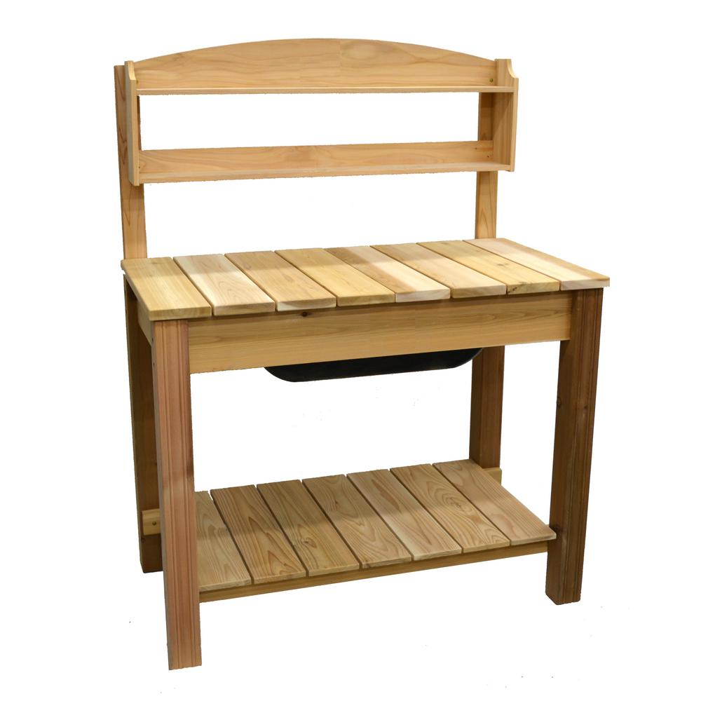 Natural Cedar Potting Bench With Classic Shelf