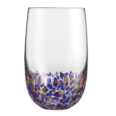 19.5 Oz. Crystal Highball Glasses with Accent Colors of Blue and Gold (Set of 4)