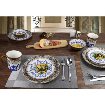 Bimini Collection 16-Piece Blue and Tan Beaded Stoneware Set by Lorren Home
