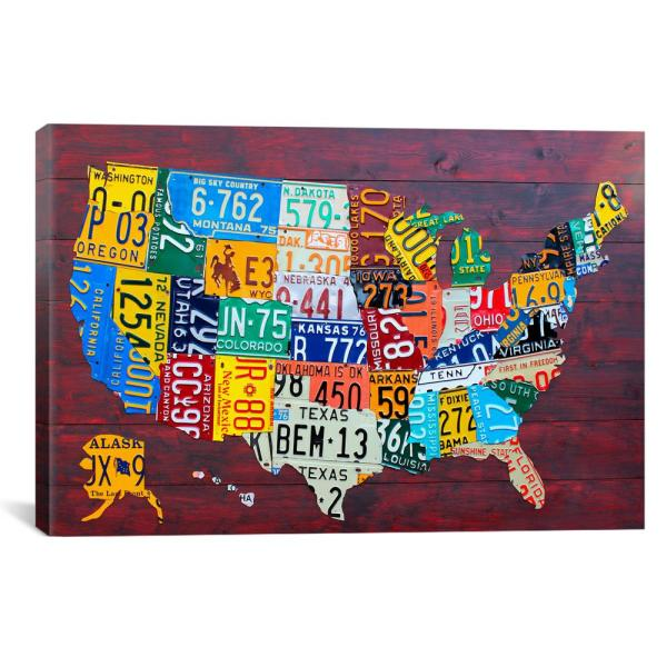 iCanvas USA Recycled License Plate Map VII 9210-1PC3-18x12 - The ...