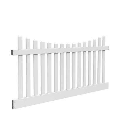Kettle Scallop 4 ft. H x 8 ft. W White Vinyl Un-Assembled Fence Panel