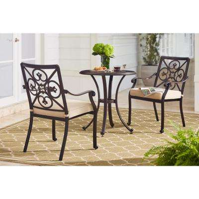 Ainsworth 3-Piece Aluminum Outdoor Bistro Set with Oatmeal Cushions