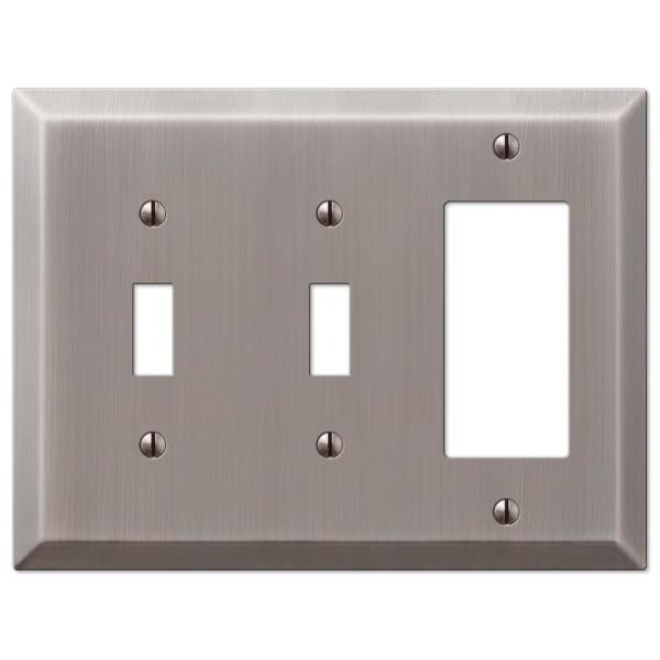 Metallic 3 Gang 2-Toggle and 1-Rocker Steel Wall Plate - Antique Nickel
