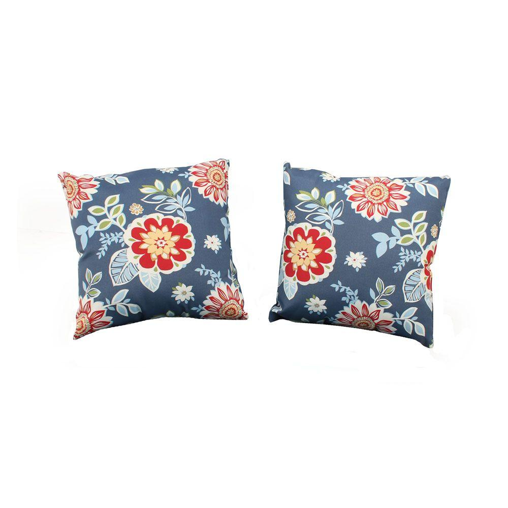 Hampton Bay Washed Blue Outdoor Throw Pillow (2-Pack)