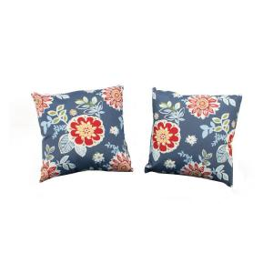 Charlottetown Washed Blue Outdoor Throw Pillow (2-Pack)