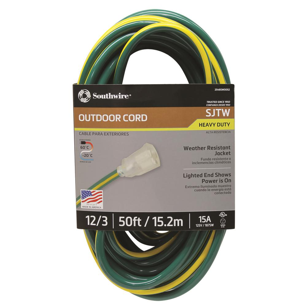 Southwire 50 ft. 12/3 SJTW Hi-Visbility Multi-Color Outdoor Heavy-Duty Extension Cord with Power Light Plug