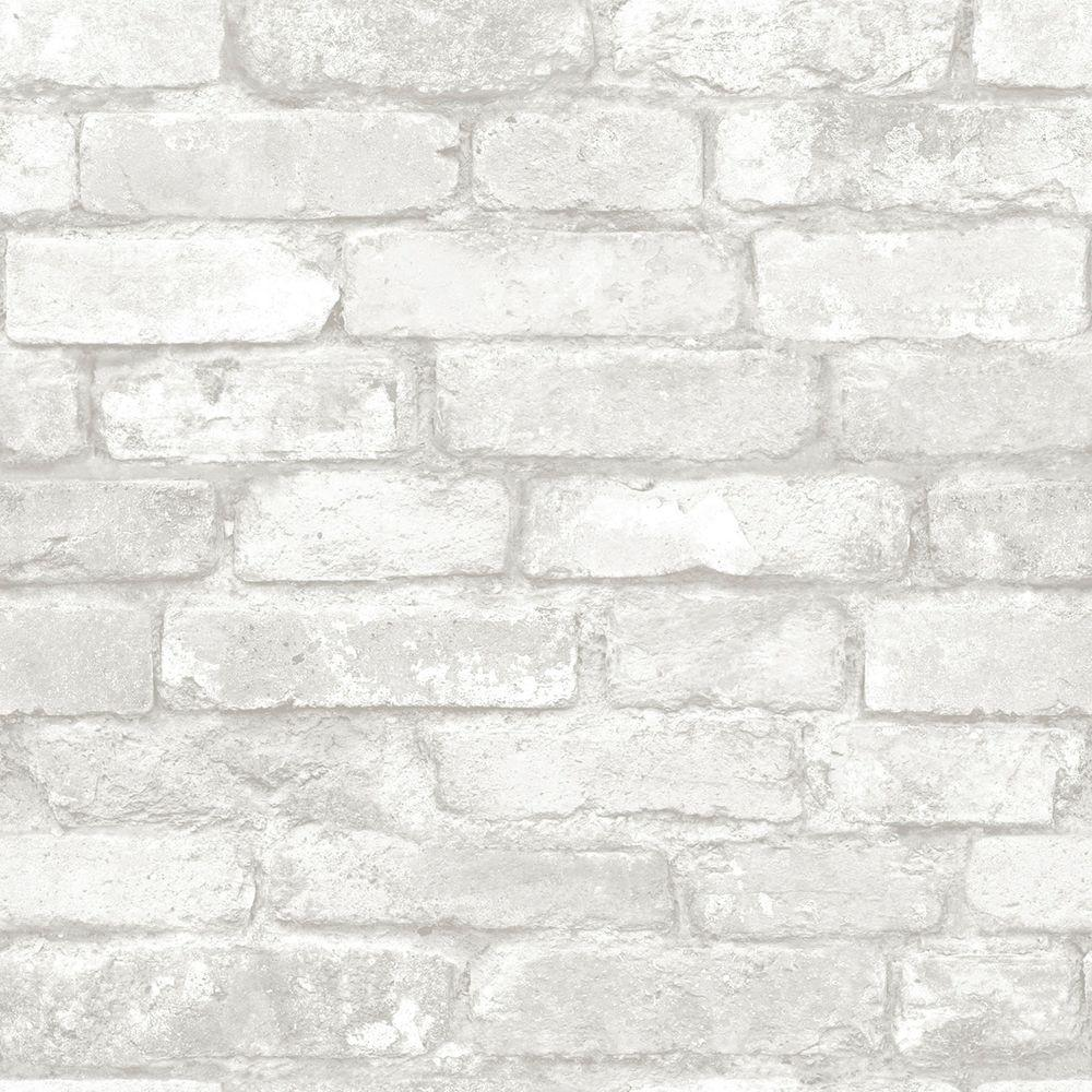 nuwallpaper grey and white brick peel and stick wallpaper nu1653 the home depot. Black Bedroom Furniture Sets. Home Design Ideas