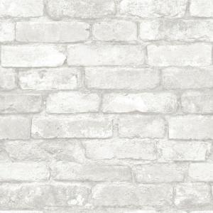 NuWallpaper Grey and White Brick Peel And Stick Wallpaper by NuWallpaper