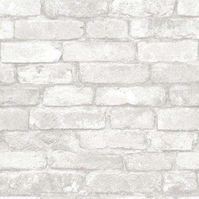 Grey and White Brick Peel and Stick Wallpaper Sample