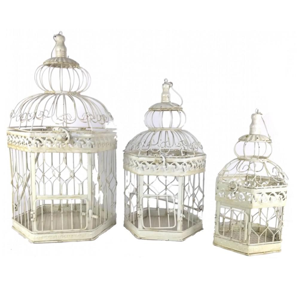 Antique White Decorative French Style Steel Bird Cages (3-Set)