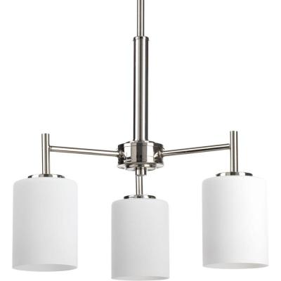 Replay 3-Light Polished Nickel Chandelier with Etched White Glass