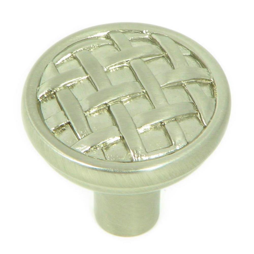 Basket Weave 1-3/8 in. Satin Nickel Round Cabinet Knob (25-Pack)