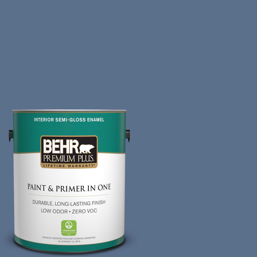 1-gal. #600F-6 Atlantic Blue Zero VOC Semi-Gloss Enamel Interior Paint