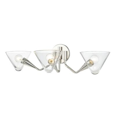Isabella 3-Light Polished Nickel Wall Sconce with Clear Shade