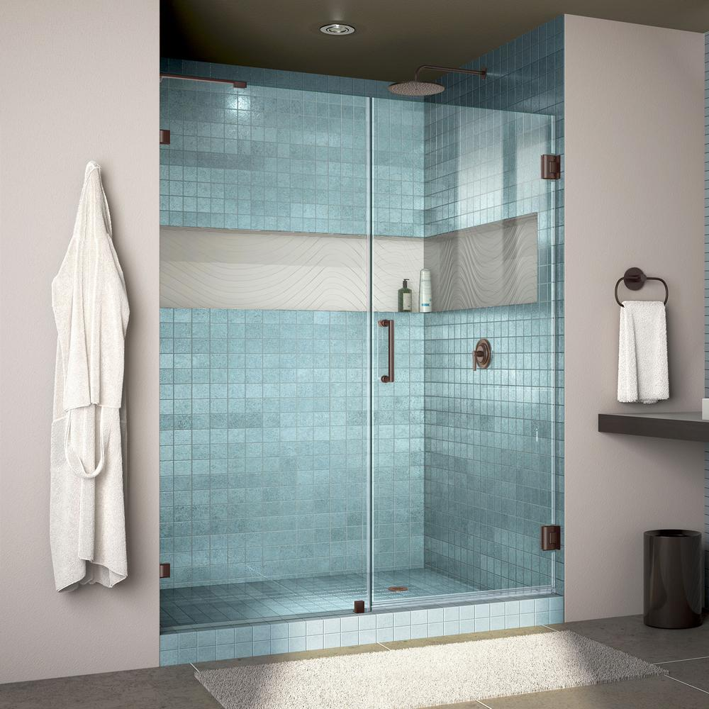 DreamLine Unidoor Lux 59 in. x 72 in. Frameless Hinged Shower Door ...