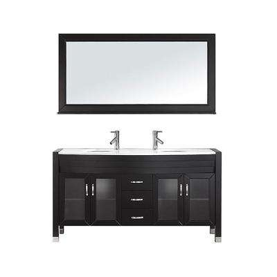 Ava 62.6 in. W x 22 in. D Vanity in Espresso with Stone Vanity Top in White with White Round Basin and Mirror