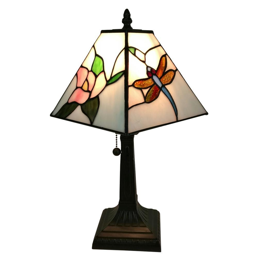 Amora Lighting 15 in. Tiffany Style Dragonfly Finish Mission Table Lamp