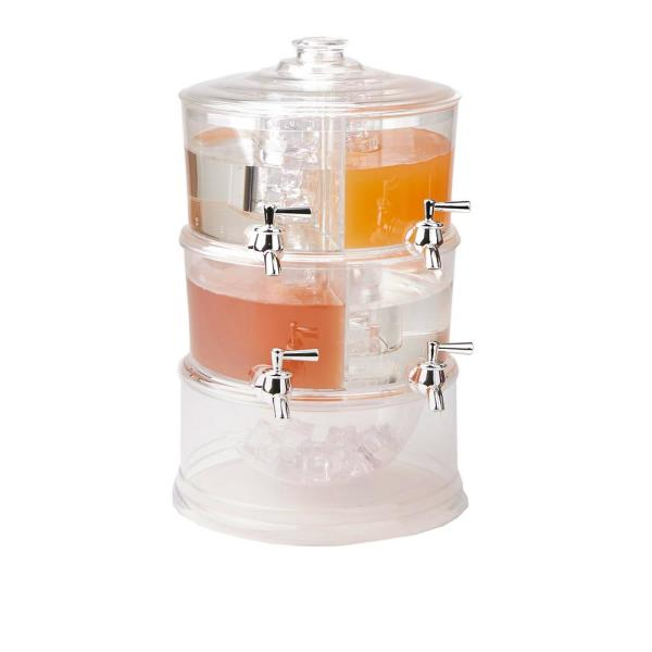 Mind Reader 2-Gal. Clear Beverage Dispenser 2-Tier Stackable and 4-Compartment Drink Holder with Lids