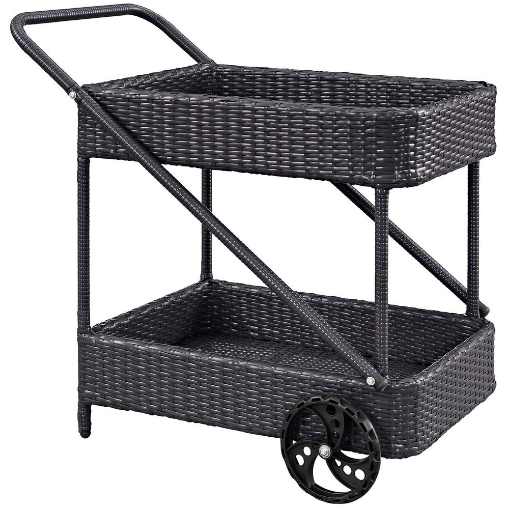 Modway Replenish Outdoor Patio Beverage Cart In Espresso