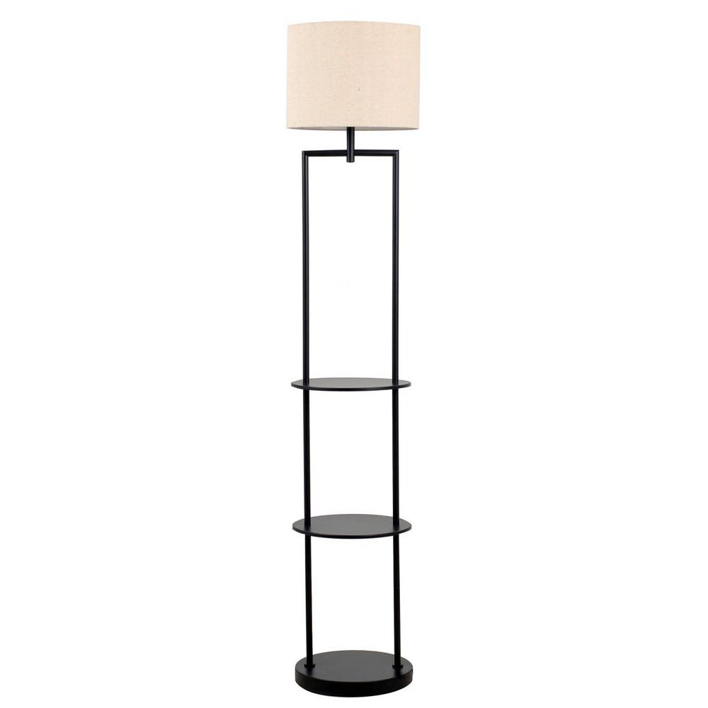 Black Etagere Floor Lamp With Linen Shade