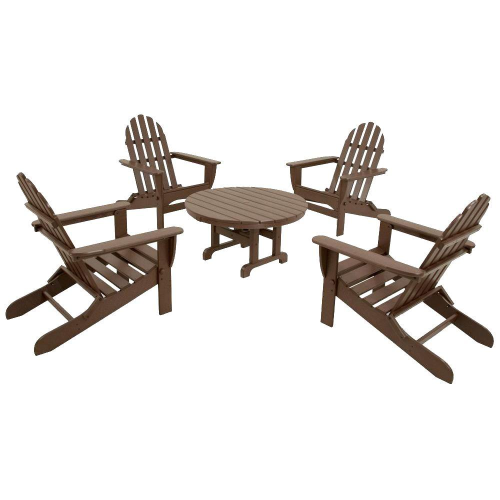 Ivy Terrace Classics Mahogany 5-Piece Folding Adirondack Patio Conversation Set