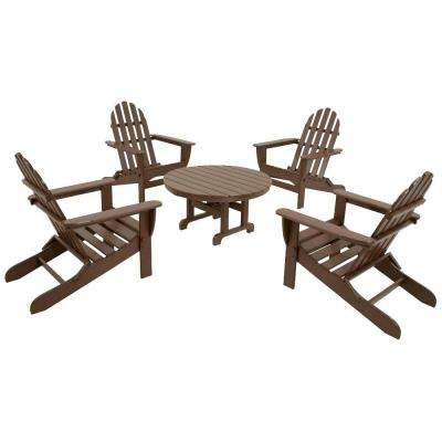 Classics Mahogany 5-Piece Folding Adirondack Patio Conversation Set
