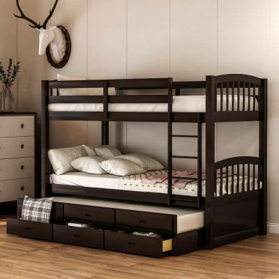 Espresso Chamblee Twin over Twin Bunk Bed with Trundle and Drawers